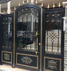34 Amazing Steel Gate Design Ideas Match With Any Home Design - The purpose of home security gates is simple. They increase the level of security of the property and help to keep the family safe. They can enhance t. Main Entrance Door Design, Front Gate Design, Main Gate Design, Door Gate Design, House Gate Design, Entrance Gates, Front Gates, Entrance Ideas, Gate Designs Modern
