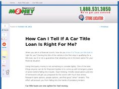 When you are in a financial crunch, how do you know if a Texas car title loan is right for you? Owning the title of the vehicle is the first step in qualifying for a title loan, but it is not a guarantee that obtaining one is the best option for your financial situation.