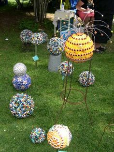 Funky recycled garden art
