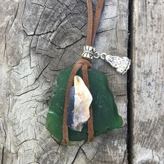 MAIA Green Sea Glass necklace pendant abalone shell by SirenaHome