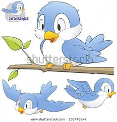 Vector illustration of a set of cute cartoon birds. Grouped and layered for easy editing - stock vector