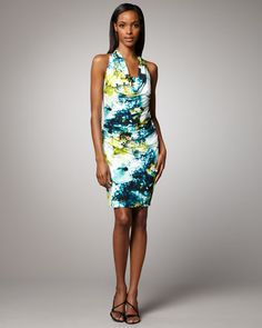Kay Unger New York Floral-Print Draped Dress  $390.00