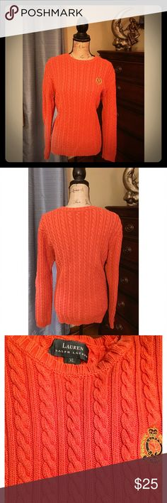 Ralph Lauren Orange Cable Knit Sweater XL Ralph Lauren Orange Cable Knit Sweater with a small crest logo embroidering on the chest. very heavyweight, purchased last year and worn & washed a couple of times but in excellent condition. Size XL Ralph Lauren Sweaters Crew & Scoop Necks