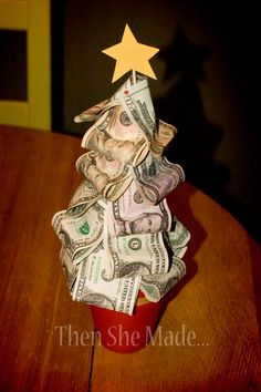 """Money Tree Christmas Gift: They can save up and buy the """"big"""" presents that they want but no one can afford to give them. Instead of gifting them money in a plain ole envelope, make this easy DIY money tree to present them some cash. Homemade Christmas Presents, Xmas Gifts, Cute Gifts, Diy Gifts, Primitive Christmas, Noel Christmas, Winter Christmas, Christmas Ideas, Holiday Crafts"""