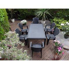 Garden Furniture Next mali 6 seater stacking rattan effect garden furniture set - home
