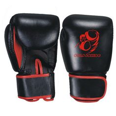 GB-200117 Boxing Gloves, Cowhide Leather, Black and Red Colour, Machine Mold, Strap with Velcro Fastener.