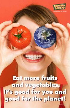 Eat more fruits and vegetables quote. Vegetarian Lifestyle, Vegetarian Recipes, Eye Sight Improvement, Healthy Eyes, Eyes Problems, Alternative Health, Health Articles, Vegan Foods, Frases