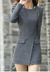 Stylish Jewel Neck Long Sleeve Solid Color Zippered Coat For Women