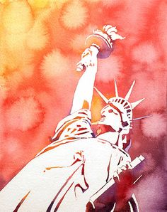 Fine art watercolor painting of the Statue of Liberty on Liberty Island- New York City Harbor, NY