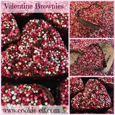 Valentine Brownies: ingredients, directions, and special baking tips from The Elf to make these easy brownies with heart cookie cutters. Cake Box Cookies, Cake Mix Cookie Recipes, Chocolate Cookie Recipes, Chocolate Cookies, Cookie Bars, Sugar Cookies, Heart Cookie Cutter, Heart Cookies, Cookie Cutters