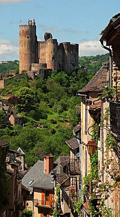 View of the Château in the medieval village of Najac in the Aveyron region of France