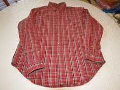 Ralph Lauren L Classic Fit Red plaid cotton long sleeve button up Shirt EUC@ #RalphLauren #ButtonFront