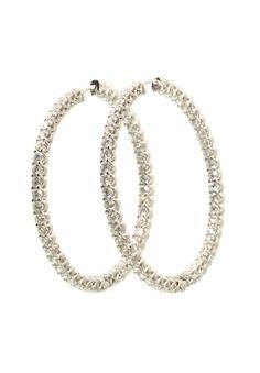 Link Diamond Inside/Outside Hoop Earrings. white gold diamond prong set inside/outside hinged hoop earrings available at Oster Jewelers. 4 Diamonds, White Gold Diamonds, Diamond Earrings, Hoop Earrings, Inside Outside, Jewelry Trends, Jewelry Watches, Jewelry Design, Jewels