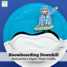 These snowboard themed interactive paper plate crafts would be fun to make during the Winter Olympics. Olympic Games For Kids, Winter Olympic Games, Winter Games, Activities For Kids, Group Activities, Kids Olympics, Winter Olympics, Olympic Crafts, Kids Skis