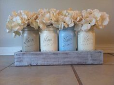 Rustic Mason Jar and wood box table Centerpiece