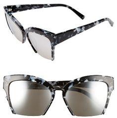 Women's Kendall + Kylie Brooke 55Mm Semi Rimless Butterfly Sunglasses - Black/ White Marble/ Black