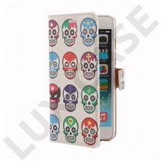 Moberg (Farvede Dødningehoveder) iPhone 6 Plus Læder Flip Etui