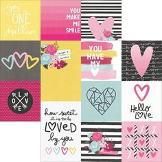 Simple Sets Love & Adore Double-Sided Elements Cardstock 12x12 1.20e /korttipaja.fi