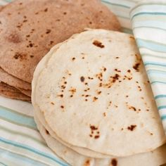 Homemade Tortillas - White and Whole Wheat recipes. You're going to want to eat the whole stack!