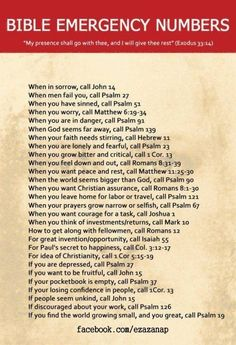 Bible Verses, I love things like these, where they tell you exactly where to go in the Bible for exactly what's going on! <3