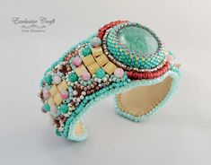 I used Panton spring colors to create bead embroidered cuff bracelet. Refreshing handmade bracelet will be nice addition for your spring look