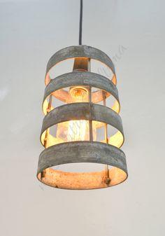 VITALI Lidara Wine Barrel Ring Cylinder par winecountrycraftsman Wine Barrel Rings, Metal Fab, Black Ceiling, Cylinder Shape, Light Fixtures, Interior Design Living Room, Lighting Design, Lights, Pendant