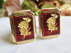 Vintage Cufflinks Ruby Red Glass Carved Roman by vintagelady7