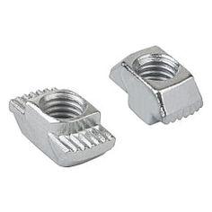 Écrou marteau : Les stries brisent la couche formée par l'anodisation et créent un raccord sûr et conducteur d'électricité // T-nuts // REF 07090