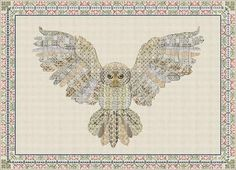 A striking pictore of an owl in flight. Blackwork Patterns, Embroidery Patterns, Swedish Weaving Patterns, Vintage World Maps, Owl, Cross Stitch, Bright Eyes, Stitching, Prints