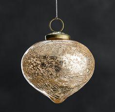 Vintage Hand-Blown Glass Ornament Onion - Gold