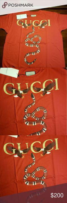 facf92140 GUCCI SHIRT New Gucci Red Snake and Eagles Shirt Gucci Shirts Tees - Short  Sleeve