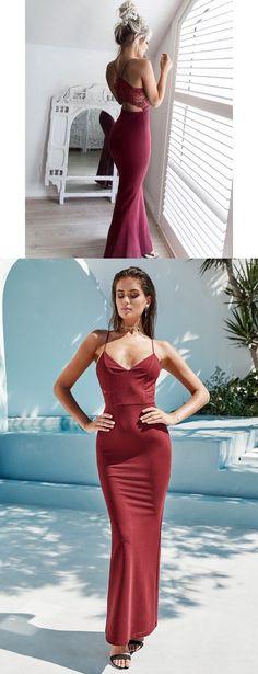 long prom dress, 2017 mermaid long prom dress, burgundy long prom dress, formal evening dress