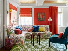 Colorfully fabulous apartment in New York combined two apartments to create a square foot home for a family of 5 — Kay Genua Designs Small Living Rooms, Living Room Decor, Living Spaces, City Living, Dining Room, Living Room Turquoise, Family Room Design, Family Rooms, Decorating Small Spaces