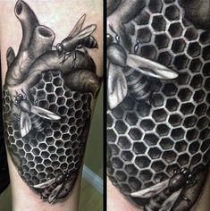 Realistic Bee And Heart Valve With Honeycomb Tattoo