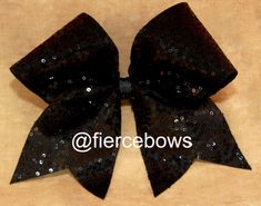 Black Sequin Cheer Bow by MyFierceBows on Etsy