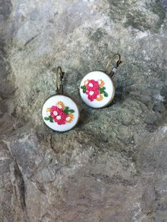 Colorful Dangle Earrings, Floral Earrings in Bronze Settings with French Clips, Embroidered Earrings, Romantic Jewelry, Gift for Her by RedWorkStitches on Etsy