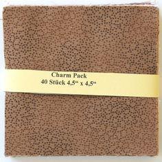 """asc-090-601040 x (4,5"""" x 4,5"""" - ~ 11,43 cm x 11,43 cm)  Charm Pack - 40 braune Basics, 20 verschiedene Stoffe, jeweils zweimal - Stoffzusammenstellung variiert"""