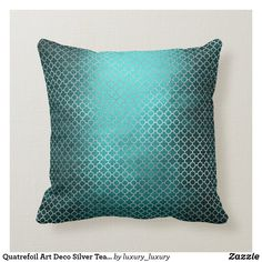 Shop Quatrefoil Art Deco Silver Teal Green Glam Throw Pillow created by luxury_luxury. Teal Green, Blue Gold, Dark Blue, Silver Living Room, Art Deco Home, Quatrefoil, Creative Decor, Custom Pillows, Home Decor Accessories