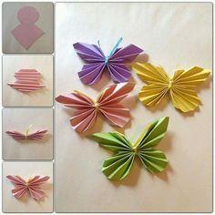 Så här enkla och fina fjärilar kan man göra av endast papper och lite snöre. Passar jättefint som väggdekoration #fjäril #inredning #barnrumsinredning #barnpyssel #diy #stegförsteg #billigt #väggdekor #väggdekoration #föräldratips #barn #tips