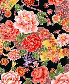 Japanese fabric Kona Bay: Fans for sale on Avenue des Tissus Source by Japanese Textiles, Japanese Patterns, Japanese Prints, Japanese Paper, Japanese Fabric, Asian Quilts, Asian Fabric, Flower Dance, Art Chinois