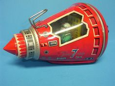 Vintage SH Japan Tin Friend SHIP 7 Space Capsule with Rotating Astronaut