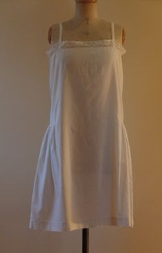 976d1c9f7 Lace trimmed white strappy French cotton embroidered 1920 s petticoat