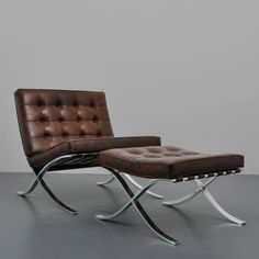 Ludwig Mies Van Der Rohe Mies van der Rohe Barcelona Chair and Ottoman Knoll