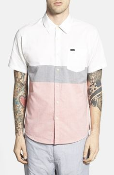 RVCA 'That'll Do' Short Sleeve Colorblock Oxford Woven Shirt available at #Nordstrom