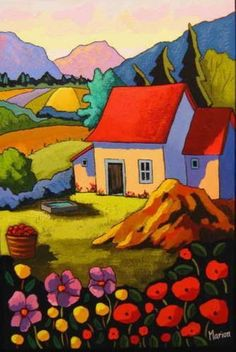 Fleurs et vallons - Louise Marion, artist Landscape Art, Landscape Paintings, Landscapes, Owl Paintings, Art Fantaisiste, Art Et Illustration, Illustrations, Arte Pop, Naive Art