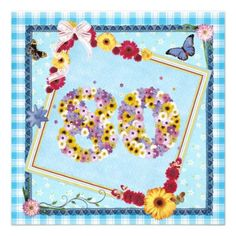 80th Birthday party Invitation flowers,butterflies
