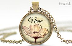 Nana Necklace, Mother's Day Jewelry, Pink Flower Pendant, Gift for Her (1747)