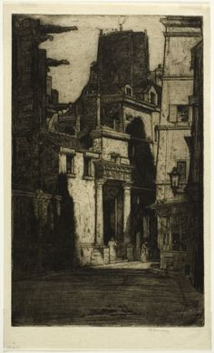 Saint Gervais, Rue des Barres, 1904 by Sir David Young Cameron (Scottish 1865 - 1945) plate four from the Paris Set