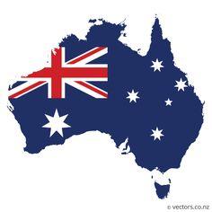 Flag Vector Map of Australia - Vectors