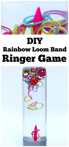 A DIY rainbow loom band ringer game sensory bottle is a super fun way to help children (and adults) calm down and unwind while they play. Calm down sensory bottles like this ringer game for kids and adults of all ages can used for safe no mess sensory pla Sensory Bottles, Sensory Bins, Sensory Activities, Sensory Play, Toddler Activities, Sensory Boards, Motor Activities, Games For Kids, Diy For Kids